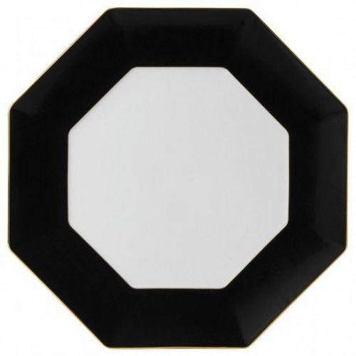 Arris Bone China Black / White Octagonal Charger Plate - 33 cm